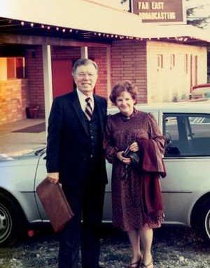 "Dr. Bob Bowman (co-founder of Far East Broadcasting) and wife Eleanor at ""The Rancho"" (restaurant/caterer) in Abbotsford, B.C. - just prior to an FEBCanada friendship dinner. (c.1980's)"
