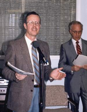 Rev. Jim Pratt (left) - executive director of FEBCanada, and Dan Hallam - chairman of the board, at the official dedication of the Burnaby head office in May, 1986.