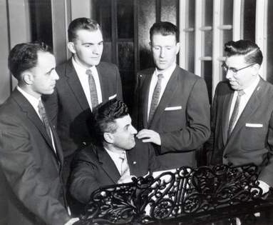 1953 - The Rock of Ages Quartet - from left: Dan Hallam, Ernest Enns, pianist Rowland Hill (seated), Arthur Uren, and Gordon Brand (c.1958)