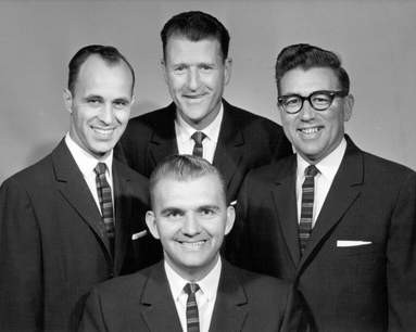 1953 - The Rock of Ages Quartet - from left: Dan Hallam, Ernest Enns (seated), Arthur Uren, and Gordon Brand (c.1958).